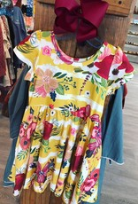 Charlies Project Mustard Floral Stripe Hugs Collection Dress
