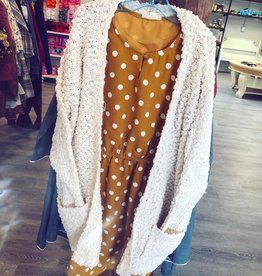 Hayden Open Style Popcorn Cardigan in Cream