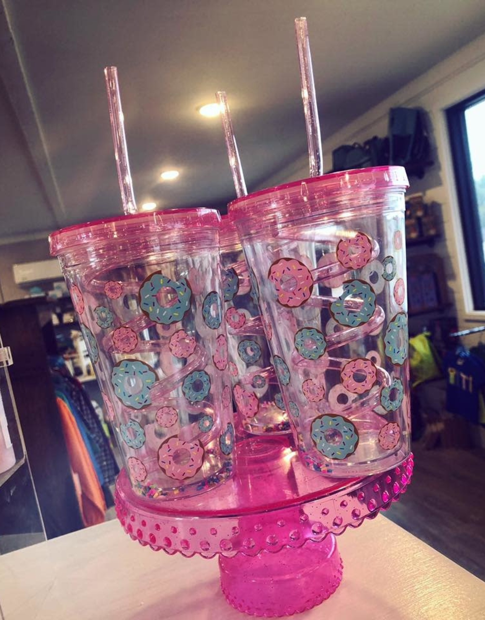 Iscream Donuts Cup With Crazy Straw