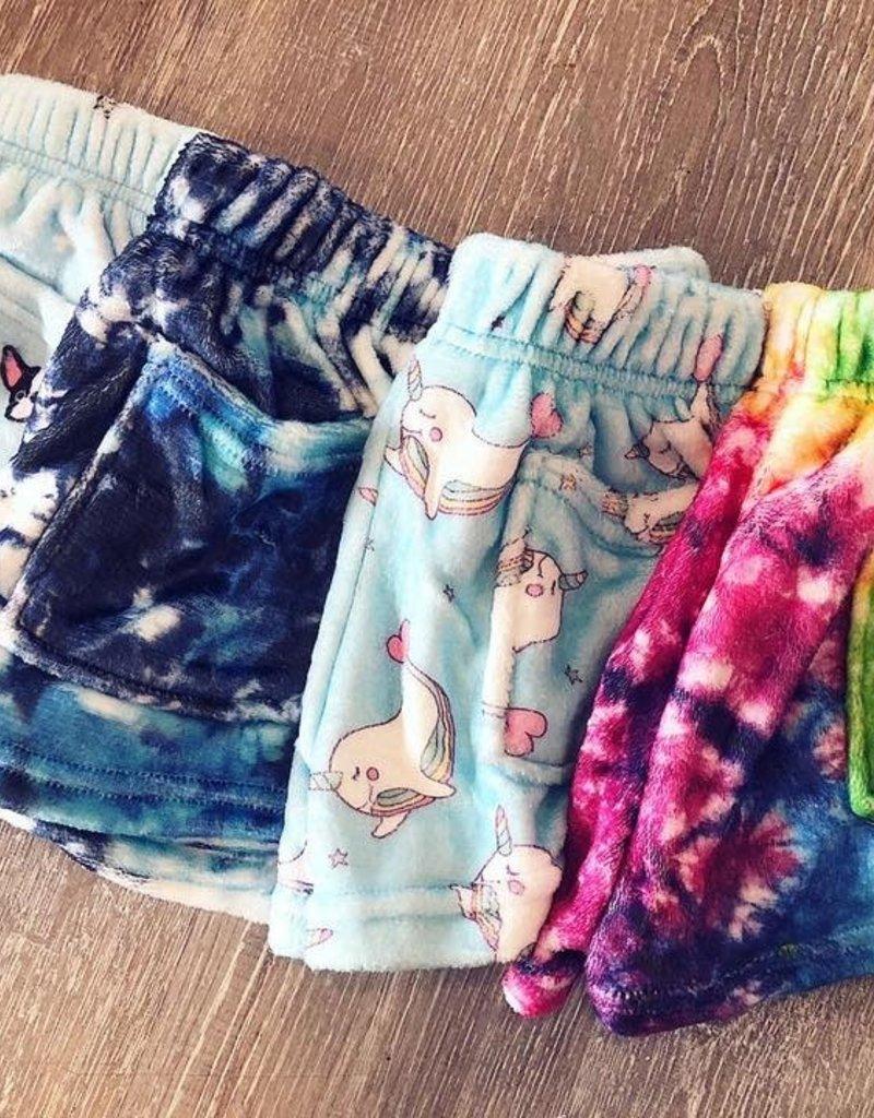 Iscream Blue Tie-Dye Plush Shorts