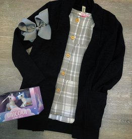 Pomelo Black Cardigan with Pockets
