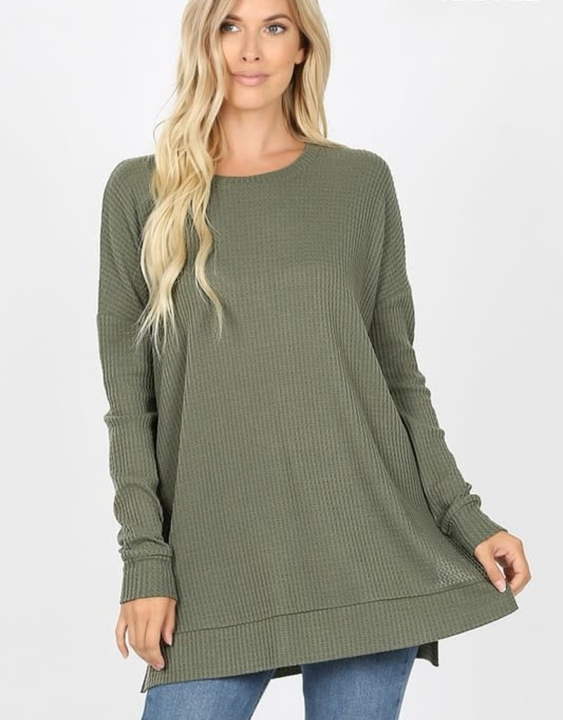 Boutique Oversize Waffle Sweater in Light Olive