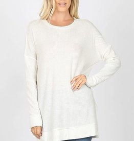 Boutique Oversize Waffle Sweater in Ivory