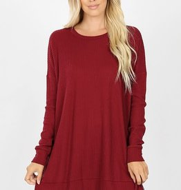Boutique Oversize Waffle Sweater in Cabernet