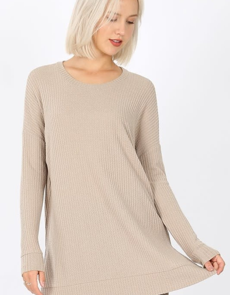 Boutique Oversize Waffle Sweater in Ash Mocha