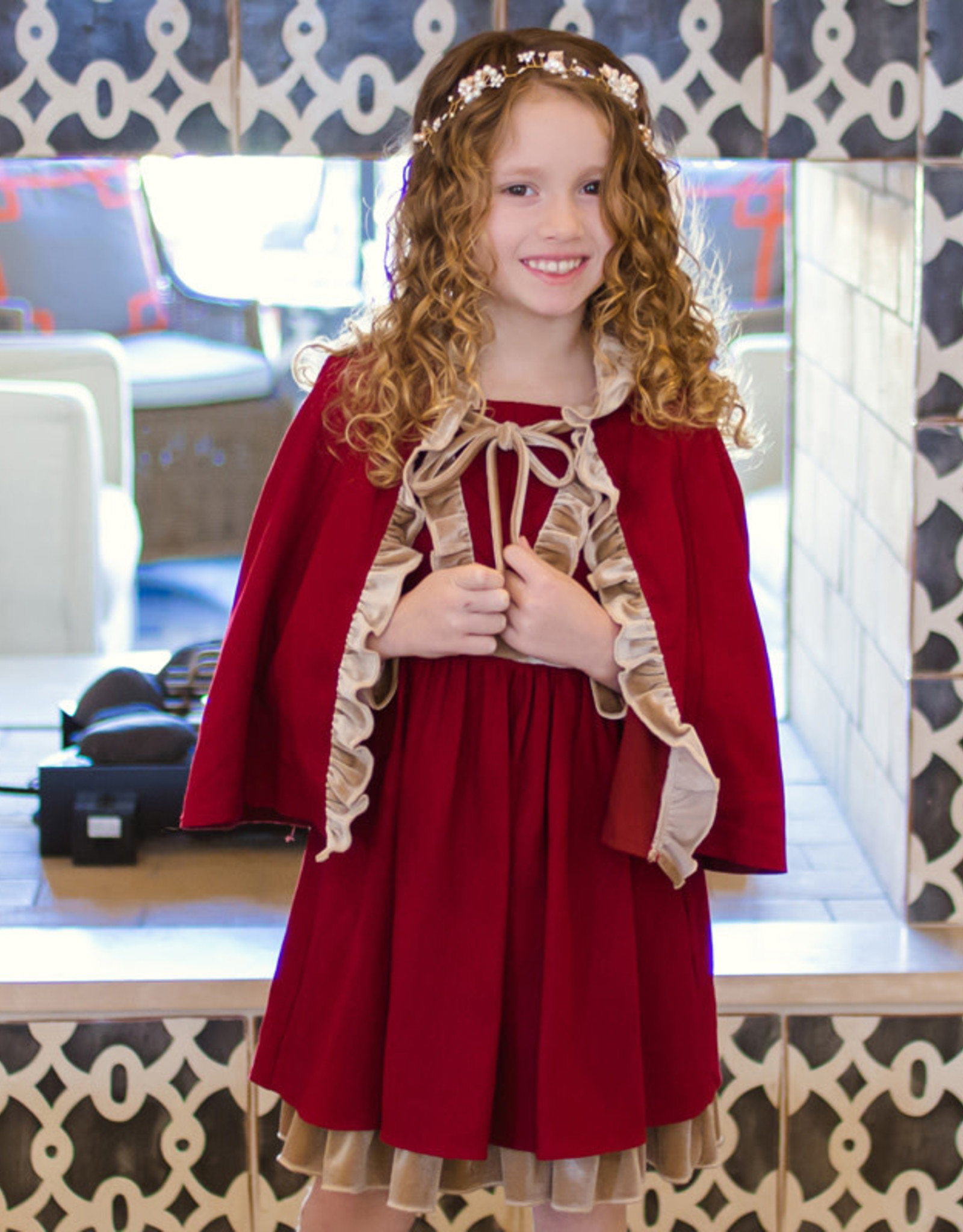 Evie's Closet Red/Gold Trim Cape Set