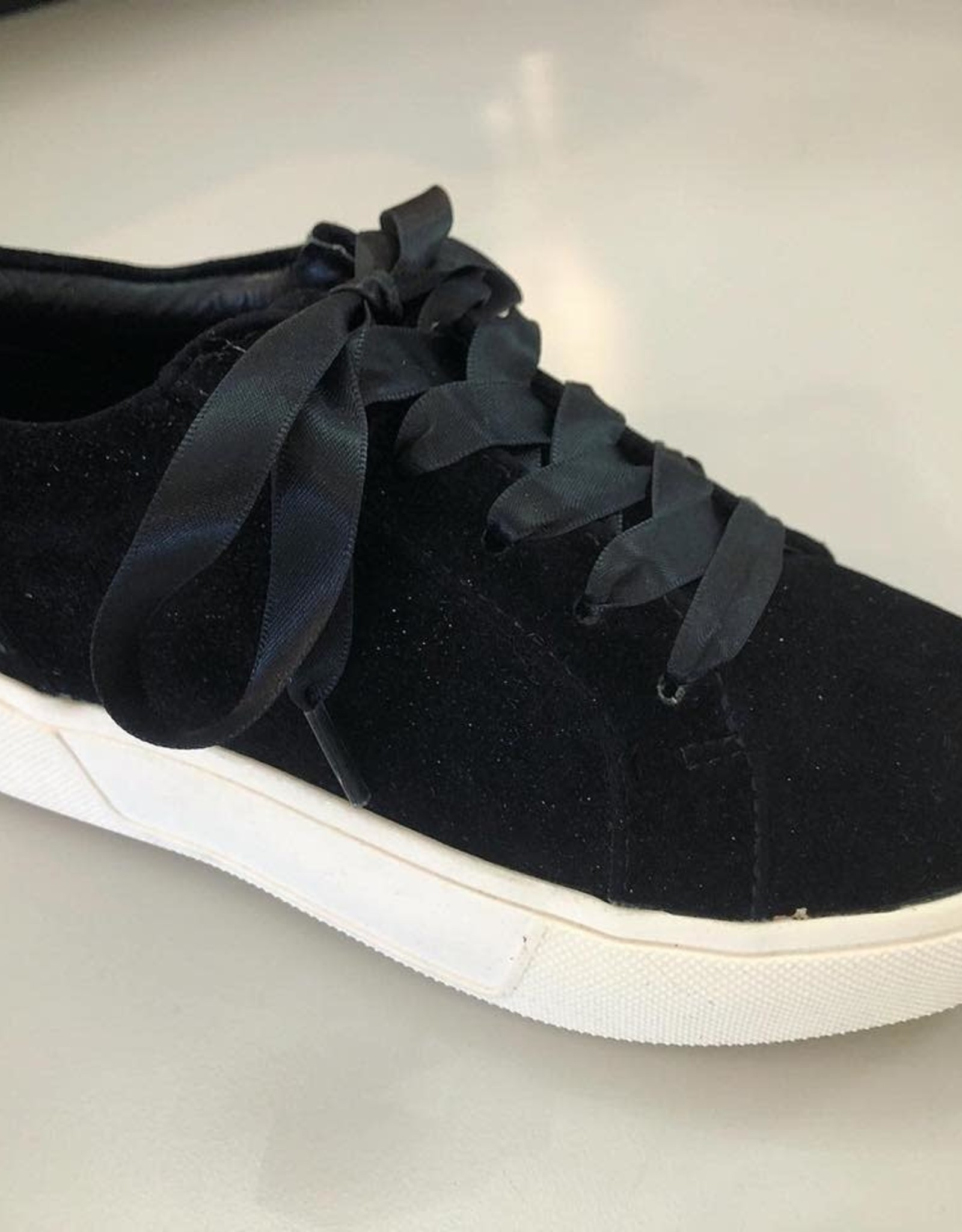 Volatile Tripp Velvet Lace Up Sneaker in Black