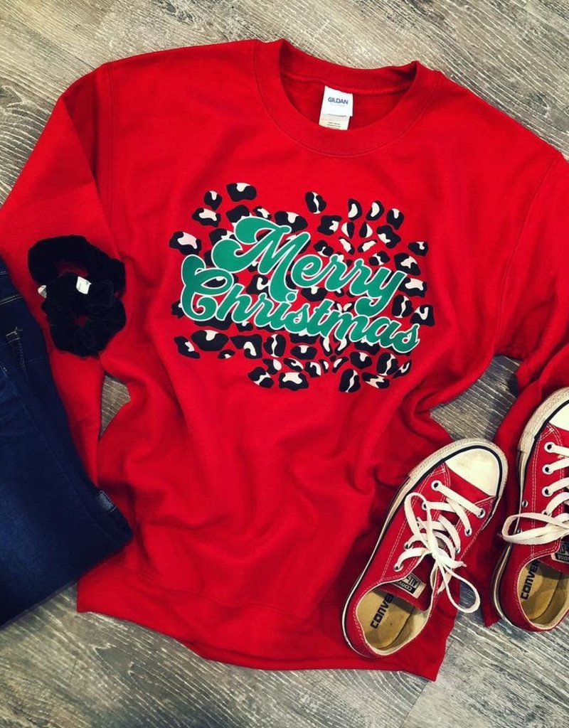 Merry Christmas Leopard Sweatshirt