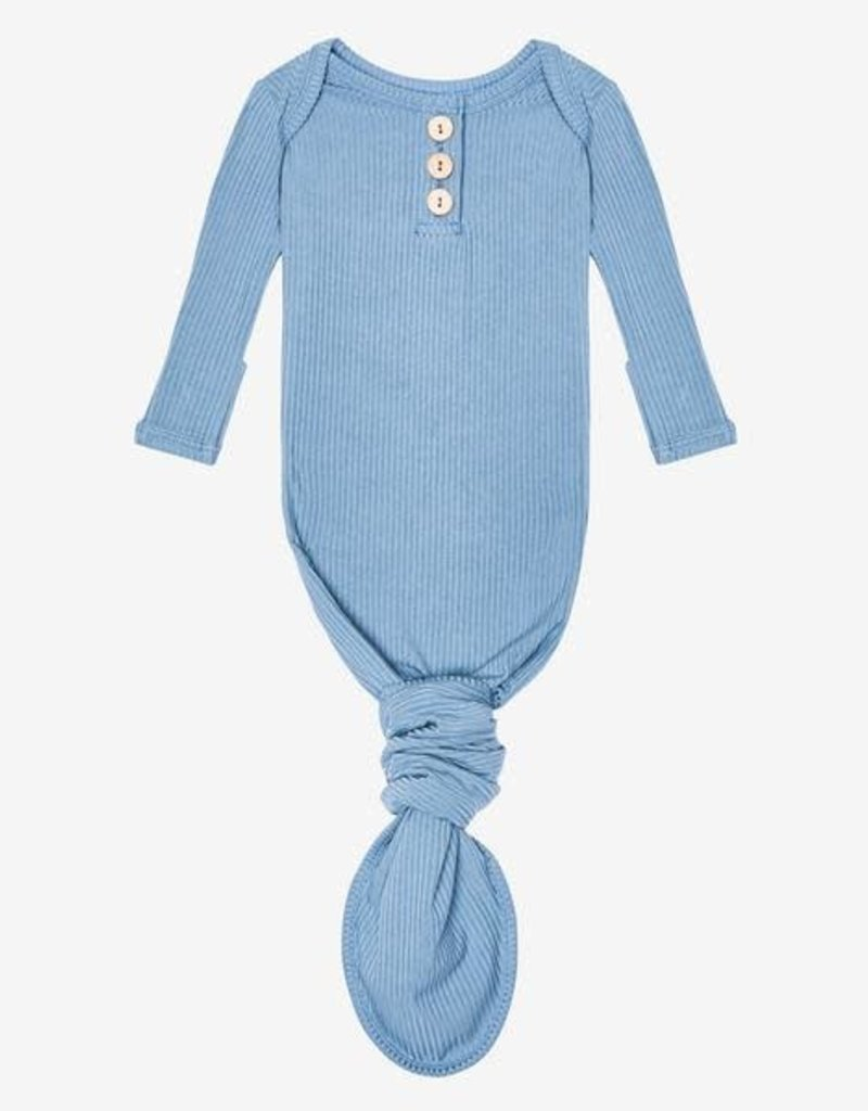 Posh Peanut Storm Blue Wood Button Knotted Gown