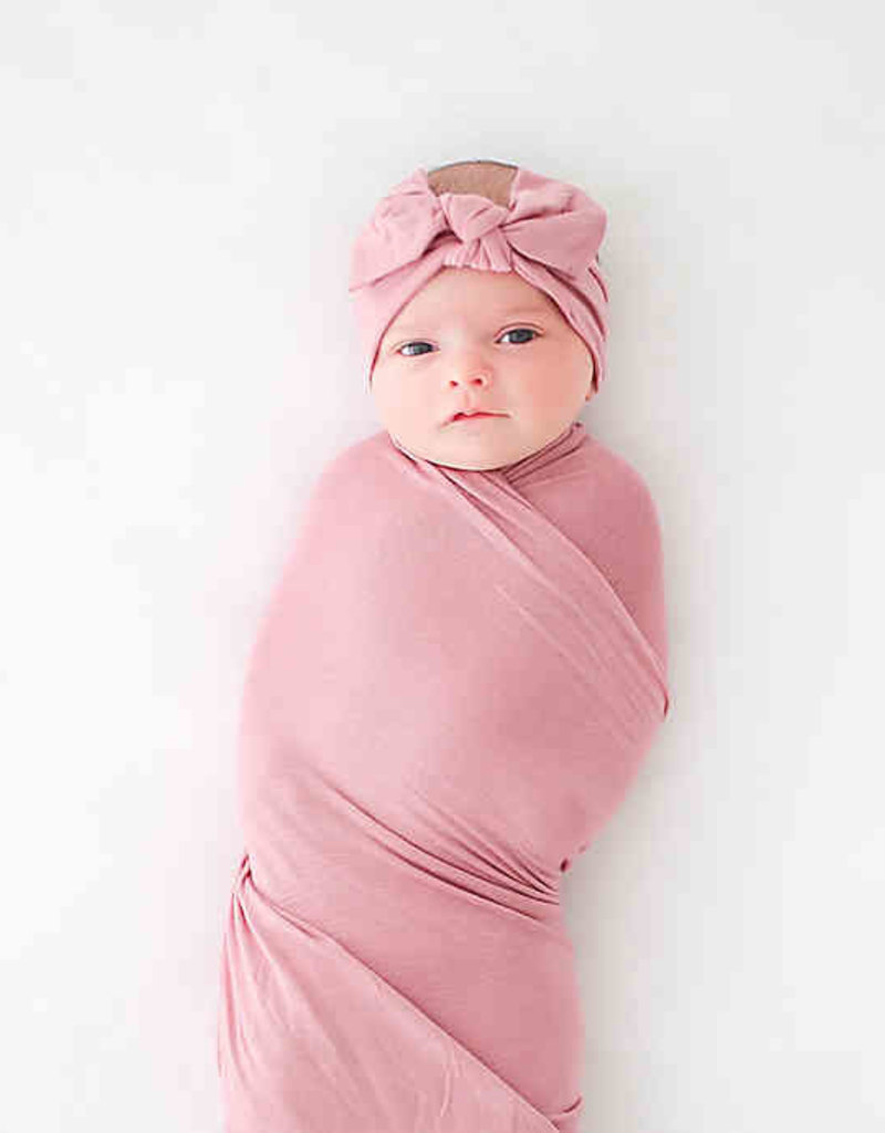 Posh Peanut Dusty Rose Infant Swaddle And Headwrap Set