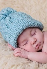 Huggalugs Cable Peony Beanie in Light Blue