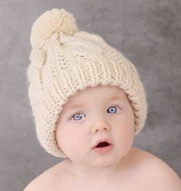 Huggalugs Cable Peony Beanie in Natural