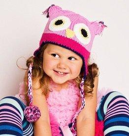 Huggalugs Pink Owl Beanie Hat