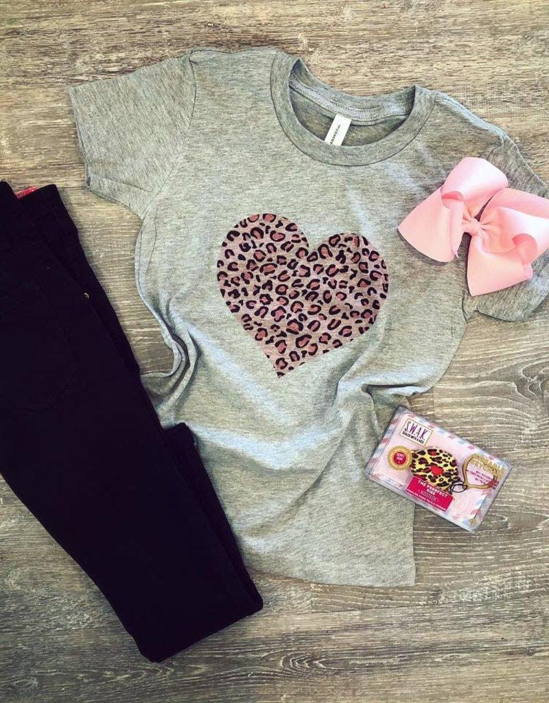 Leopard Heart Grey Tee