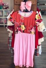 Pomelo Cindy Dress in Floral Mauve