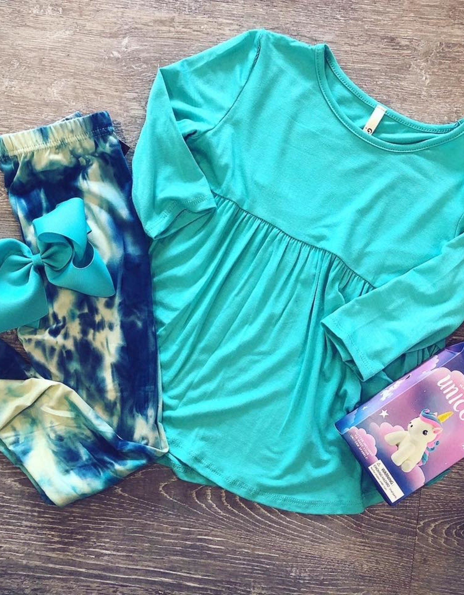 G to G baby doll tunic top 3/4 sleeves in mint