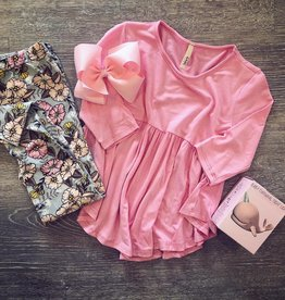 G to G baby doll tunic top 3/4 sleeves in blush