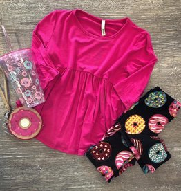 G to G baby doll tunic top 3/4 sleeves in hot pink