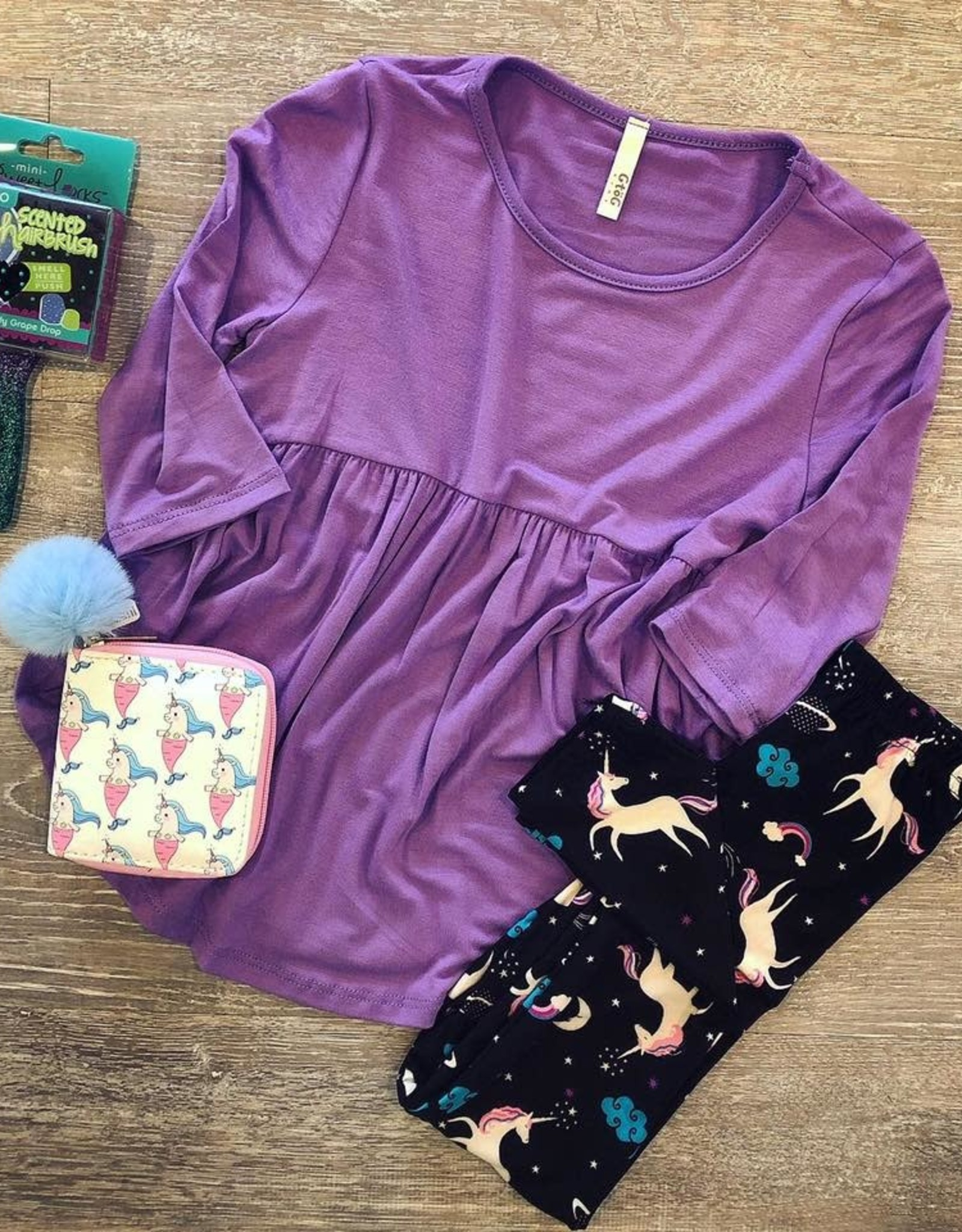 G to G baby doll tunic top 3/4 sleeves in lavender