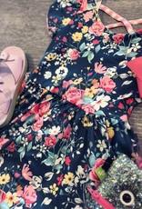 Vintage Floral Gingham Cross Back Hugs Collection Dress
