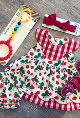Sage & Lilly Sweet Strawberry Scallop Bloomer Set