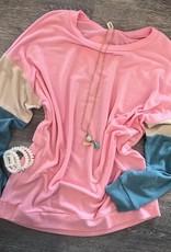 Pink Color Block Tunic Sweatshirt