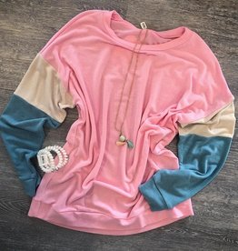 Pink Color Block Tunic Sweatshirt