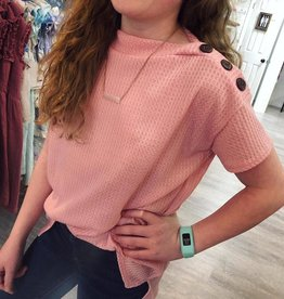 G to G Waffle Knit Button Top in Pink