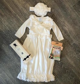 Lemon Loves Layette Jenna Gown & Headband Set in White