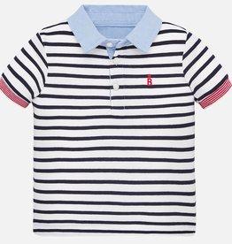 Mayoral Short Sleeve Polo - Navy Stripes