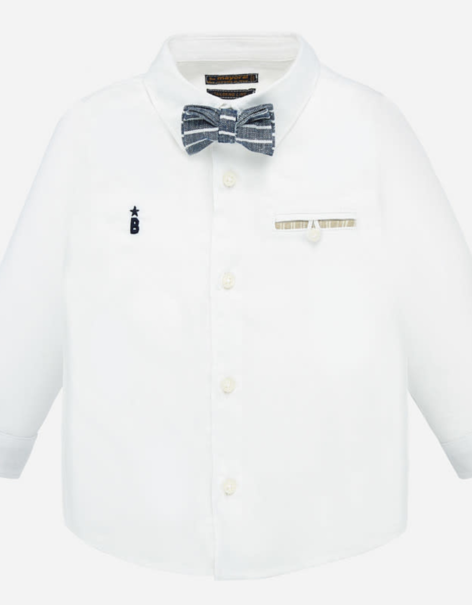 Mayoral Long Sleeve Shirt with Matching Bow-Tie