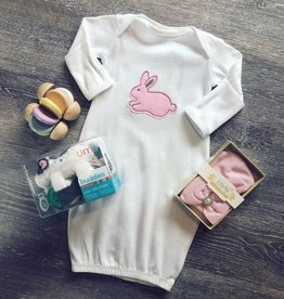 Frayed Flannel Pink Bunny Gown
