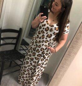 Waffle Knit Leopard Maxi Dress