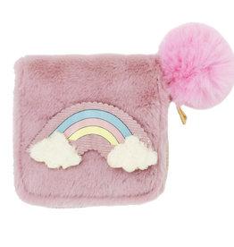 Zomi Gems Fuzzy Pink Rainbow Wallet