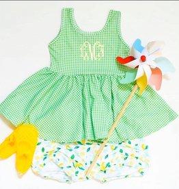 Be Girl Clothing Green Gingham Peplum Top