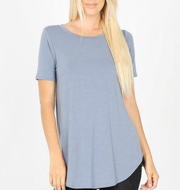 Kallie Round Hem Top in Blue Grey