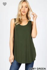 Marie Round Hem Tank in Army Green