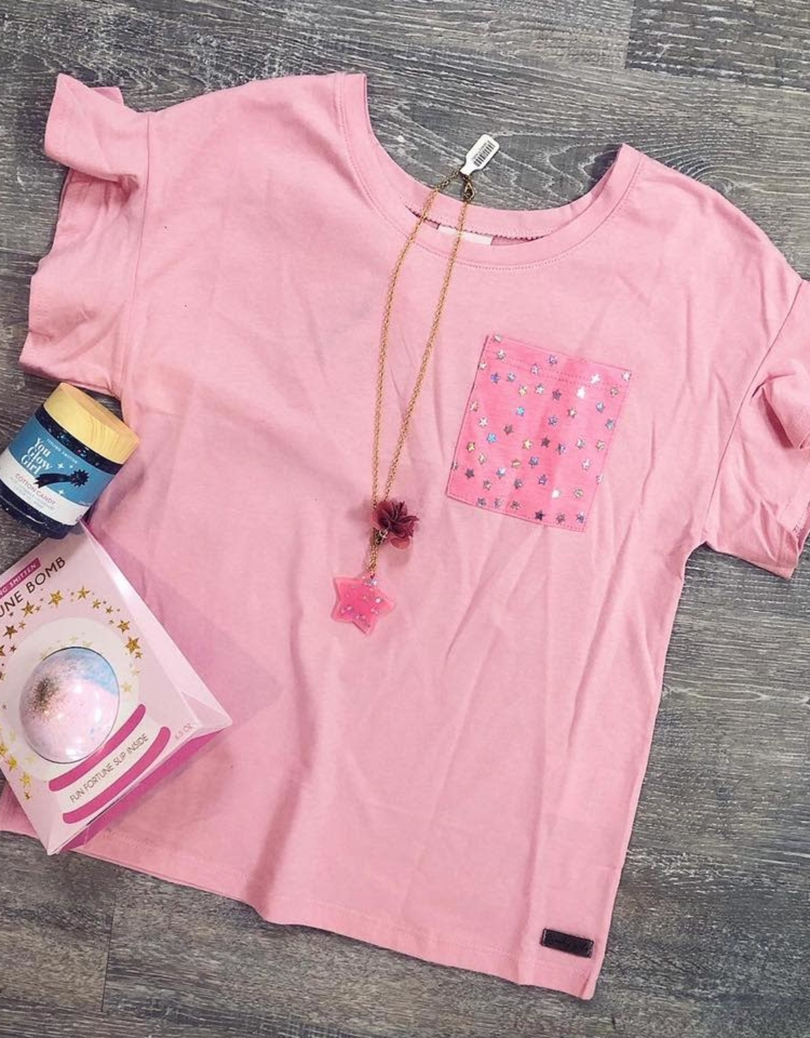 Star Pocket Tee in Pink
