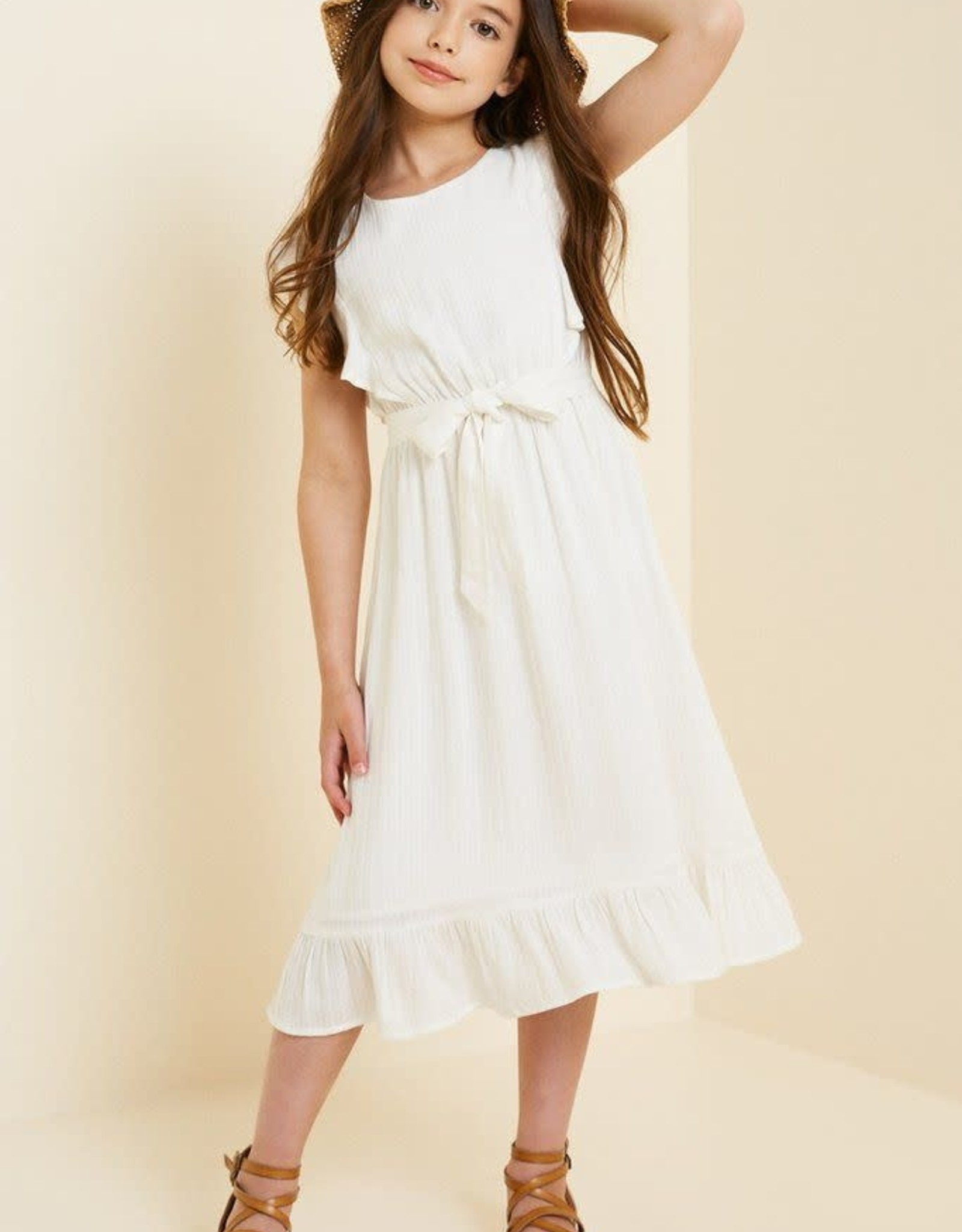 Hayden Belted Ruffle Sleeve Maxi Dress