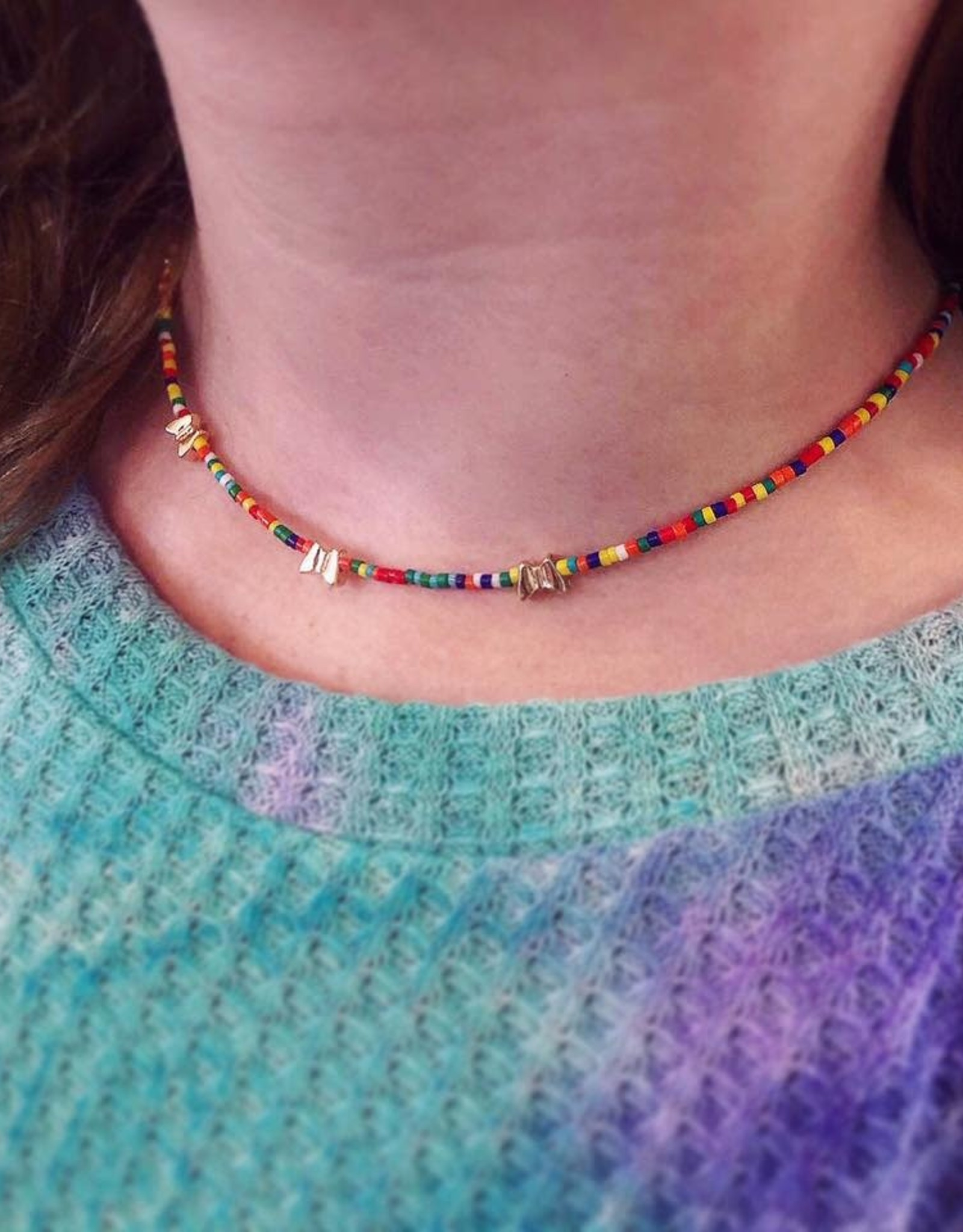 Butterfly Rainbow Bead Necklace