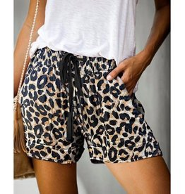 Leopard Drawstring Shorts with Pockets