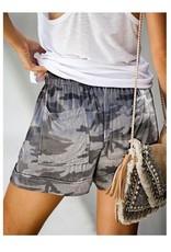 Grey Camo Drawstring Shorts with Pockets