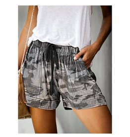 Grey Camo Drawstring Shorts with Pockets
