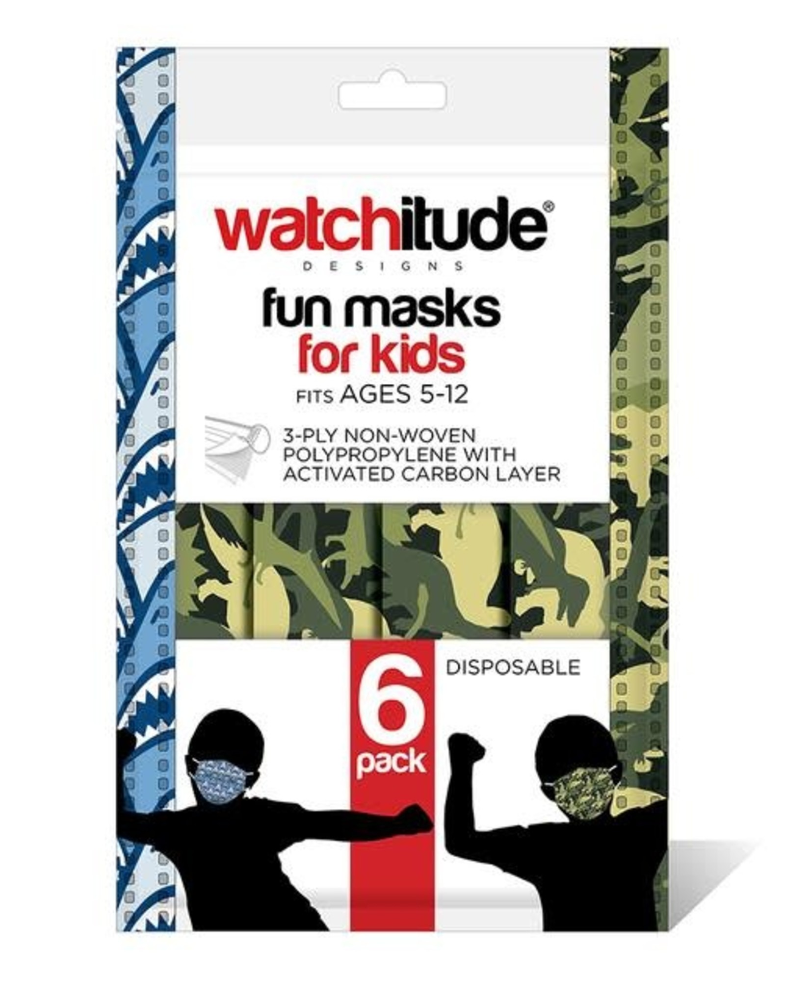 "Watchitude Six Pack ""Disposable""  Kids Face Mask"