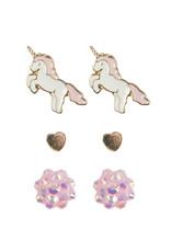 Creative Education Boutique Unicorn Studded Earrings, 3 Sets