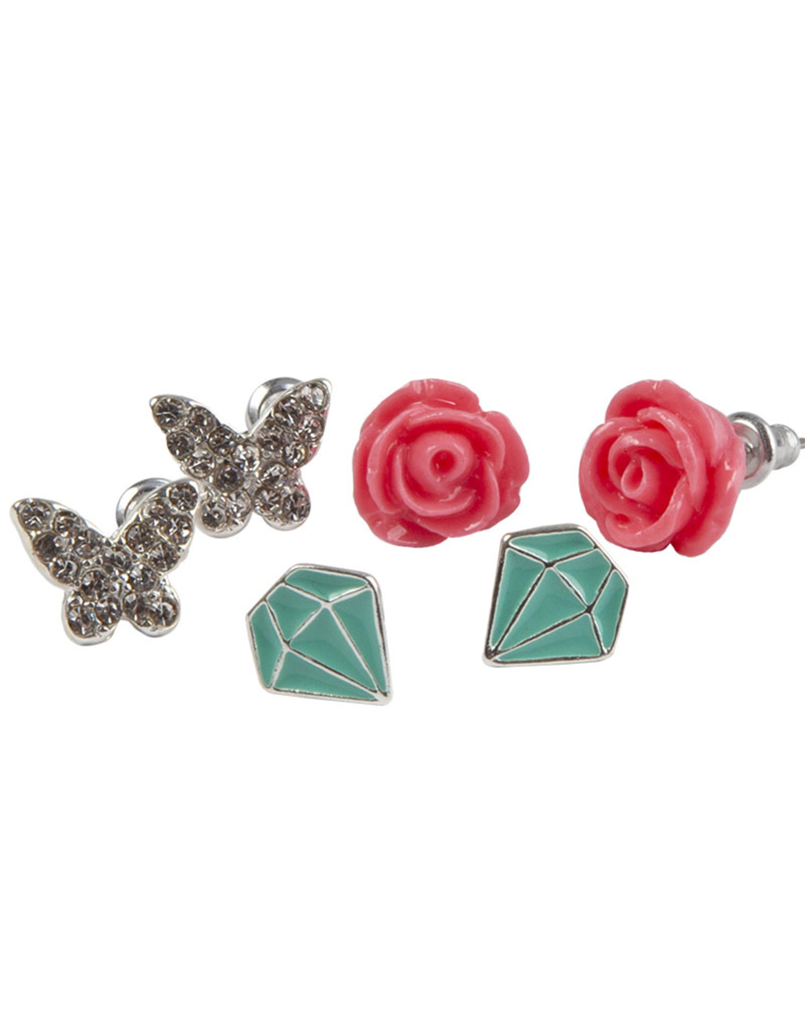 Creative Education Boutique Rose Studded Earrings, 3 Sets