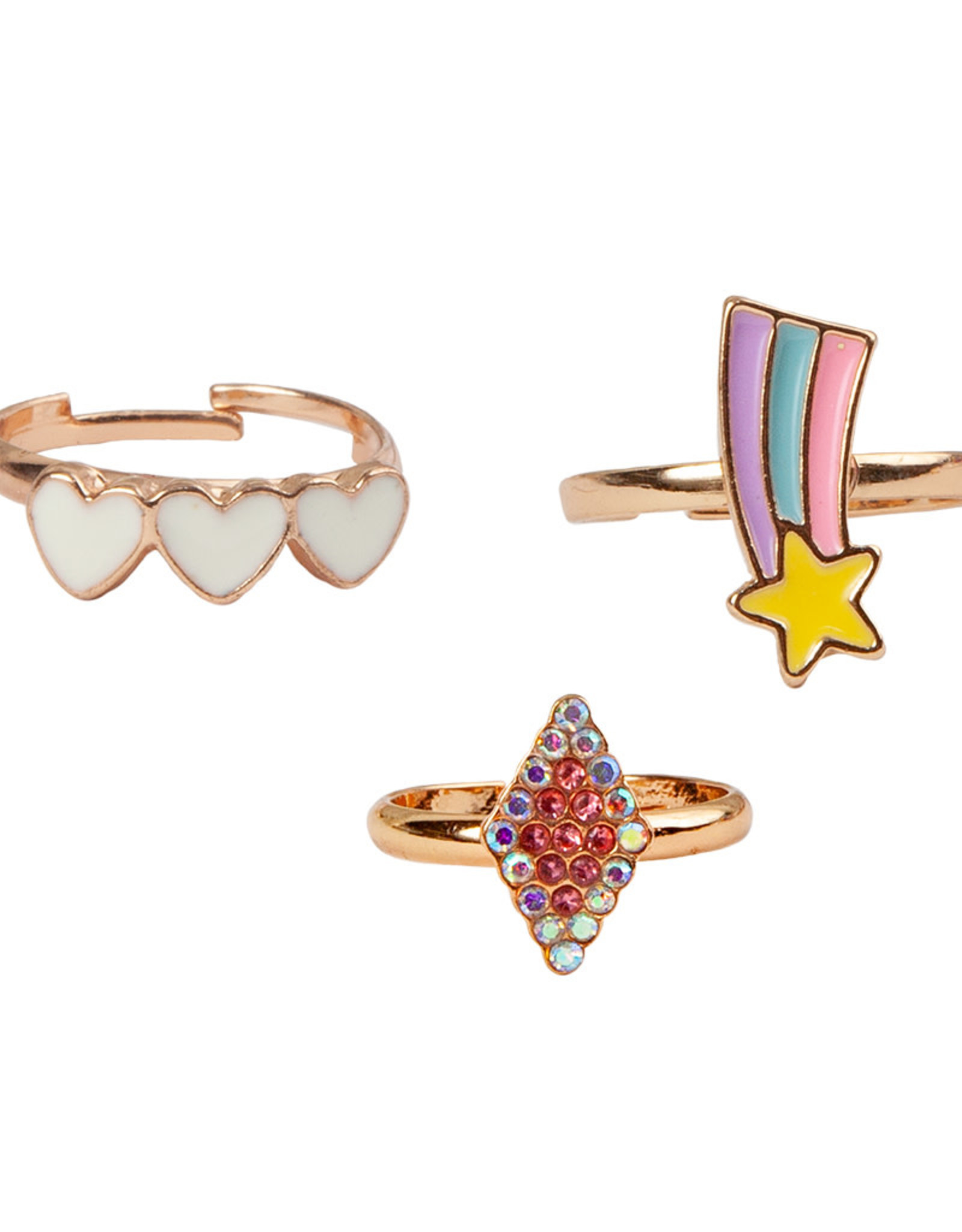 Creative Education Boutique Heart Star Rings, 3 Pcs