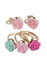 Creative Education Boutique Rose Rings & Earring Set, 3 Rings, 1 Set of Clip on Earrings