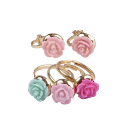 Creative Education Boutique Rose Rings & Earring Set, 3 Rings, 1 Set of Clip on Earrings