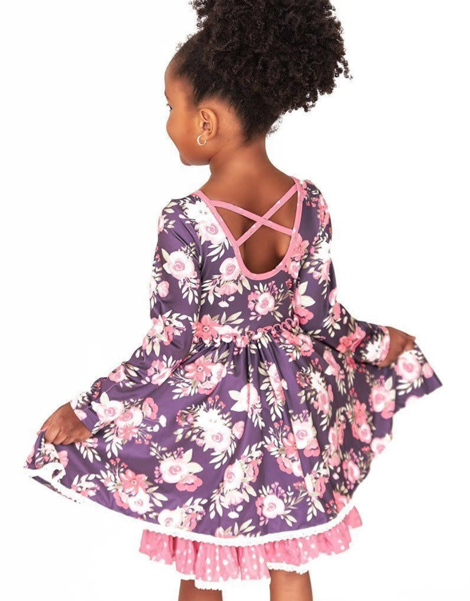 Charlies Project Delicate Flowers Cross Back Twirls Hugs Dress